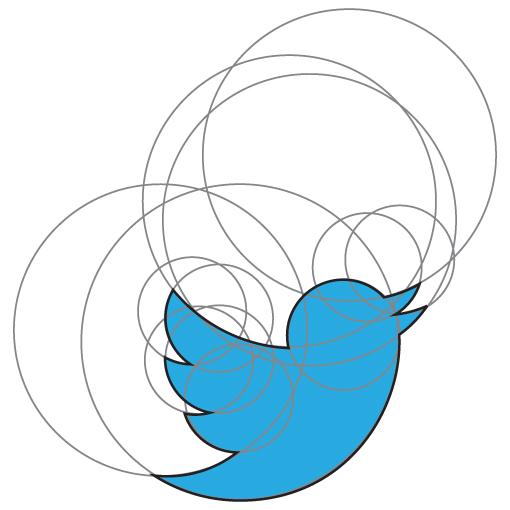 طراحی لوگو توییتر با تناسب دایره ها
